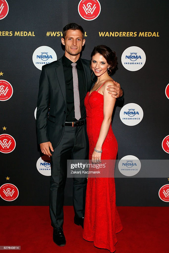 Shannon Cole and Jacqueline Cole arrive during the 2016 Western Sydney Wanderers Awards at Qudos Bank Arena on May 3, 2016 in Sydney, Australia.