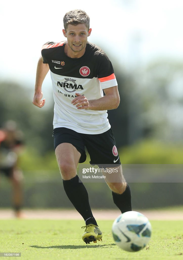 Shannon Cole controls the ball during a Western Sydney Wanderers A-League training session at Blacktown International Sportspark on February 19, 2013 in Sydney, Australia.