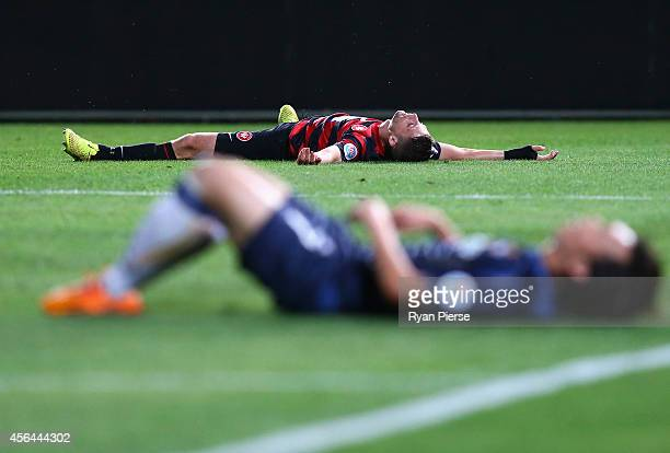 Shannon Cole of the Wanderers celebrates after scoring his teams second goal during the Asian Champions League semi final leg 2 match between the...