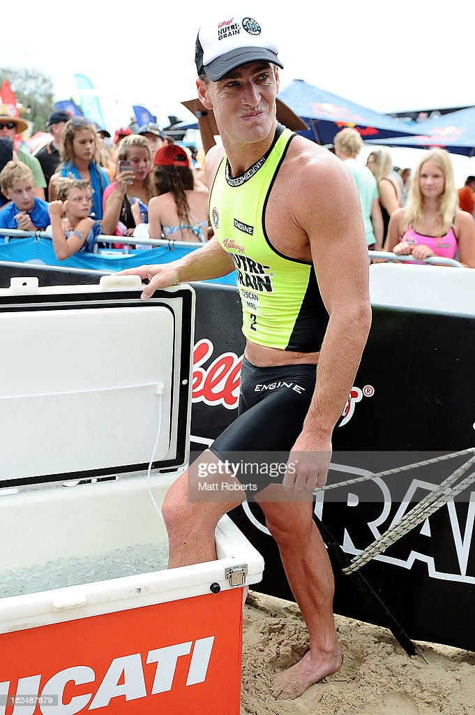 Shannon Eckstein puts his left leg in ice after the Noosa Heads round of the 2012-13 Kelloggs Nutri-Grain Ironman Series on February 24, 2013 in Noosa, Australia.