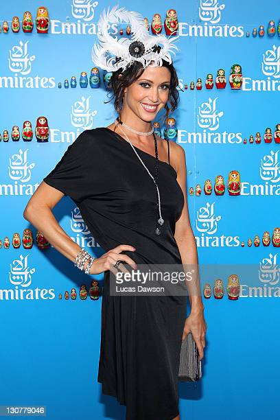 Shannon Elizabeth attends the Emirates marquee during Victoria Derby Day at Flemington Racecourse on October 29 2011 in Melbourne Australia
