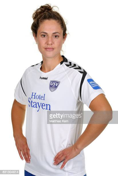 Shannon Elizabeth Woeller of FF USV Jena poses during the Allianz Frauen Bundesliga Club Tour at Ernst Abbe Sportfeld on August 11 2017 in Jena...