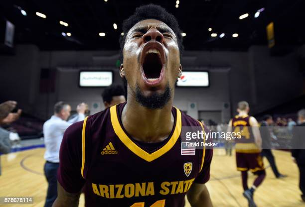 Shannon Evans II of the Arizona State Sun Devils reacts after the team won the championship game against the Xavier Musketeers during the 2017...