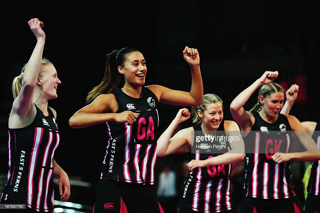 Shannon Francois, Maria Tutaia, Anna Thompson and Casey Koupua of New Zealand dance after winning the final match between New Zealand and Australia on day three of the Fast5 Netball World Series at Vector Arena on November 10, 2013 in Auckland, New Zealand.