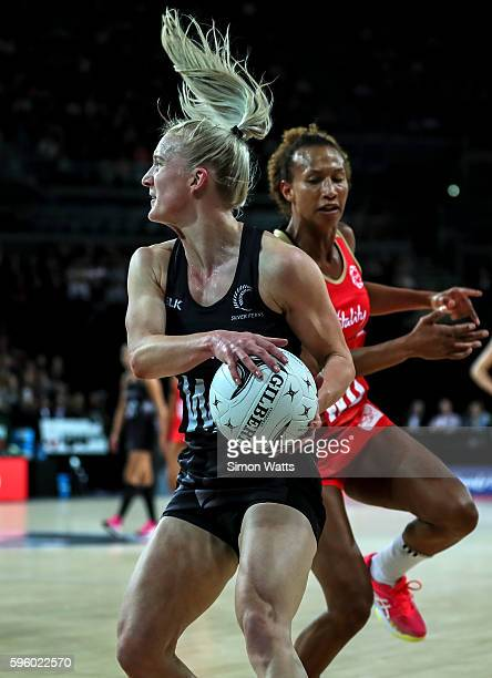 Shannon Francois of New Zealand takes a pass under pressure from Serena Guthrie of England during the International Test Match between New Zealand...