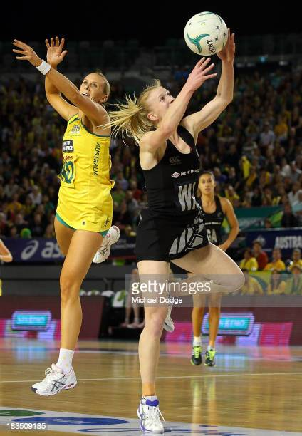 Shannon Francois of the Ferns receives the ball against Ranae Hallinan of the Diamonds during the Constellation Cup match betweemn the Australian...
