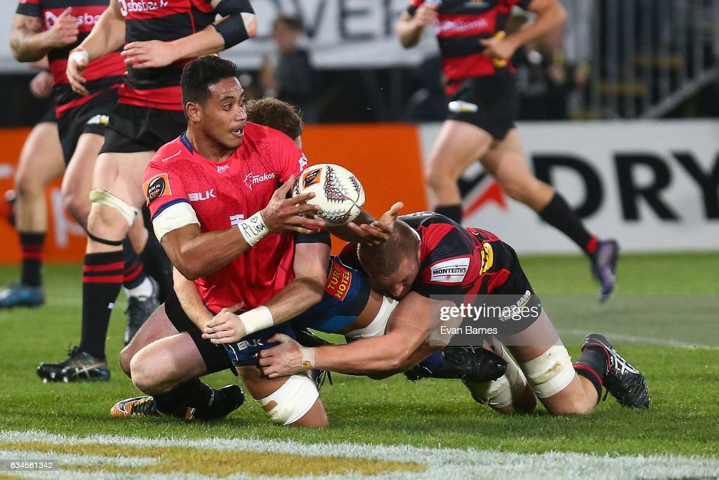 Shannon Frizell of Tasman is tackled during the during the Mitre 10 Cup round one match between Tasman and Canterbury at Trafalgar Park on August 18, 2017 in Nelson, New Zealand.