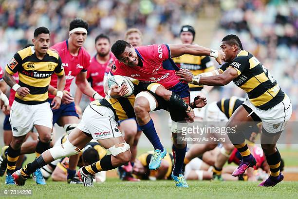Shannon Frizell of Tasman on the charge against Waisake Naholo of Taranaki during the Mitre 10 Cup Semi Final match between Taranaki and Tasman on...