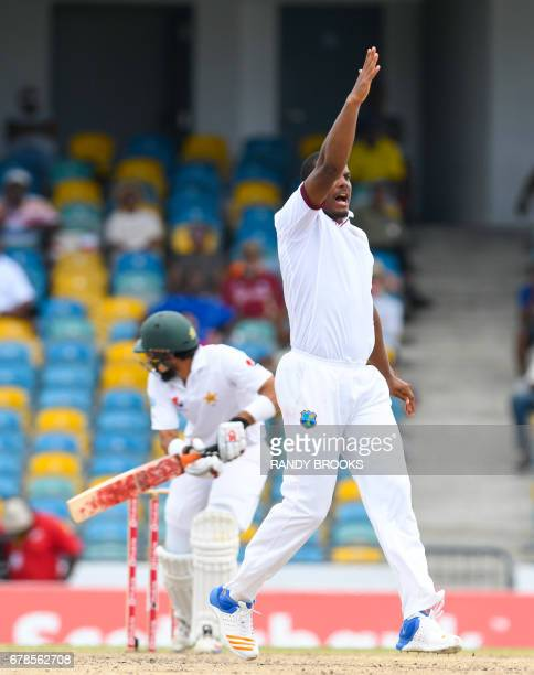 Shannon Gabriel of West Indies celebrates the dismissal of Misbah ul Haq of Pakistan during the 5th and final day of the 2nd Test match between West...