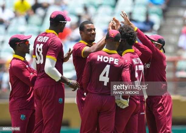 Shannon Gabriel of West Indies celebrates the dismissal of Sarfraz Ahmed of Pakistan during the 2nd ODI match between West Indies and Pakistan at...