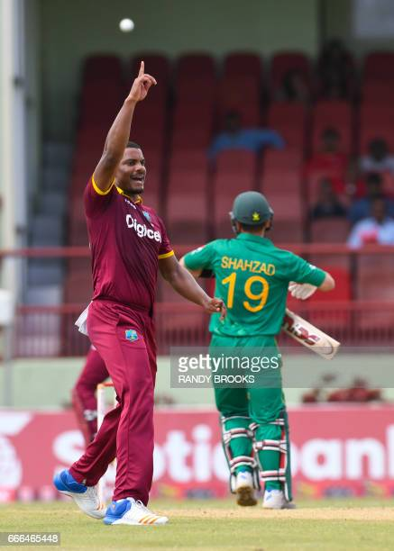 Shannon Gabriel of West Indies dismiss Ahmed Shehzad of Pakistan during the 2nd ODI match between West Indies and Pakistan at Guyana National Stadium...