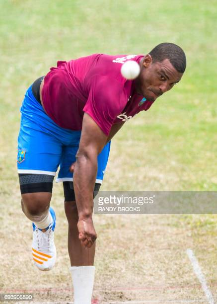 Shannon Gabriel of West Indies takes part in a training session at Darren Sammy National Cricket Stadium on June 08 2017 in St Lucia ahead of the...