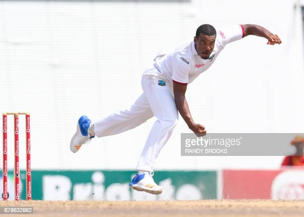 Shannon Gabriel of West Indies took 5 Pakistan wickets for 11 runs during the 5th and final day of the 2nd Test match between West Indies and...