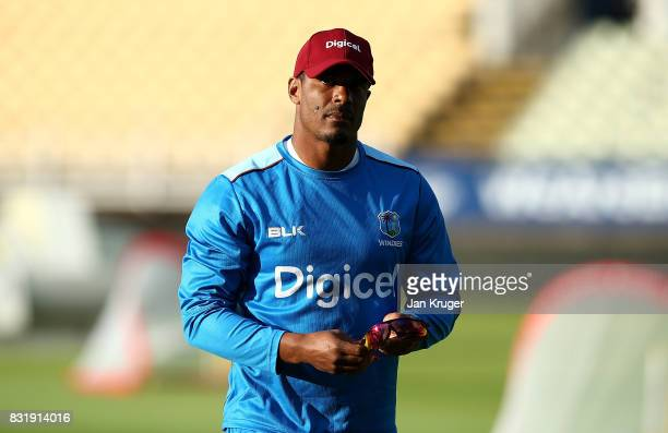 Shannon Gabriel of West Indies warm up during a nets session at Edgbaston on August 15 2017 in Birmingham England