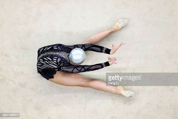 Shannon Gardiner of South Africa competes in Rhythmic Gymnastics Individual AllAround Qualification on day ten of the Nanjing 2014 Summer Youth...