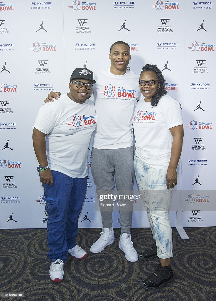 Shannon Horton and Ray Westbrook joins Russell Westbrook #0 of the Oklahoma City Thunder at his annual Why Not Foundation fundraiser to benefit the Boys and Girls Club at AMC Boulevard Bowl in Edmond, Oklahoma.