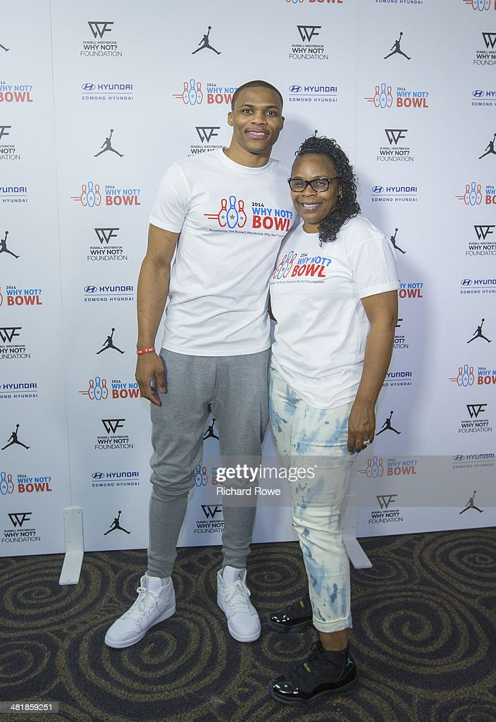 Shannon Horton joins Russell Westbrook #0 of the Oklahoma City Thunder at his annual Why Not Foundation fundraiser to benefit the Boys and Girls Club at AMC Boulevard Bowl in Edmond, Oklahoma.