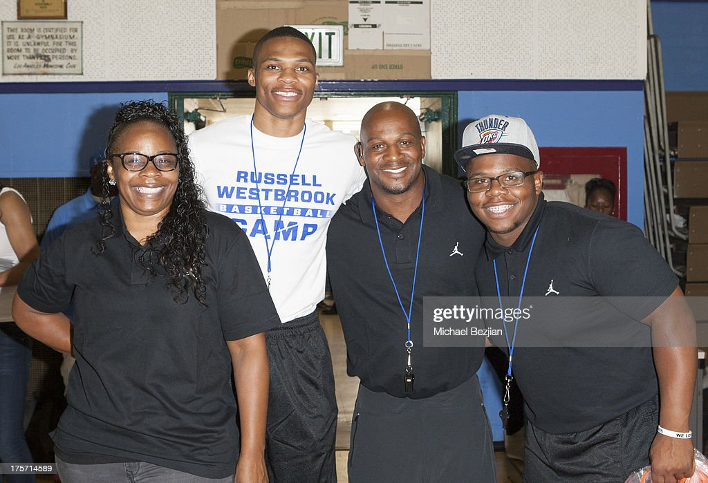 Shannon Horton, <a gi-track='captionPersonalityLinkClicked' href=/galleries/search?phrase=Russell+Westbrook&family=editorial&specificpeople=4044231 ng-click='$event.stopPropagation()'>Russell Westbrook</a>, <a gi-track='captionPersonalityLinkClicked' href=/galleries/search?phrase=Russell+Westbrook&family=editorial&specificpeople=4044231 ng-click='$event.stopPropagation()'>Russell Westbrook</a> Sr. and Raynard Westbrook attend <a gi-track='captionPersonalityLinkClicked' href=/galleries/search?phrase=Russell+Westbrook&family=editorial&specificpeople=4044231 ng-click='$event.stopPropagation()'>Russell Westbrook</a> Why Not? Basketball Camp at Jesse Owens Community Regional Park on August 6, 2013 in Los Angeles, California.