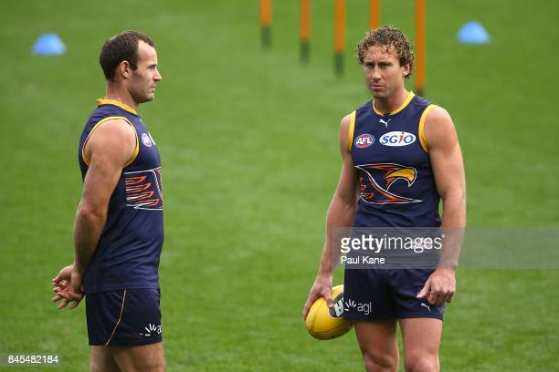 Shannon Hurn and Matt Priddis look on during a West Coast Eagles AFL training session at Domain Stadium on September 11 2017 in Perth Australia