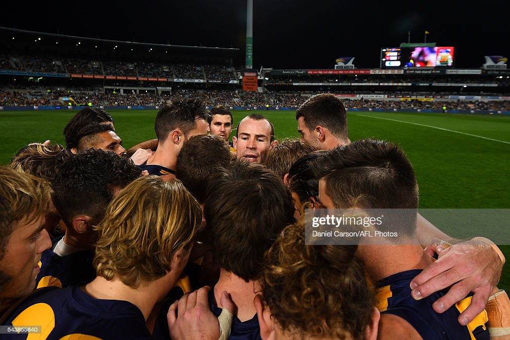 Shannon Hurn of the Eagles leads the team huddle during the 2016 AFL Round 14 match between the West Coast Eagles and the Essendon Bombers at Domain Stadium on June 30, 2016 in Perth, Australia.