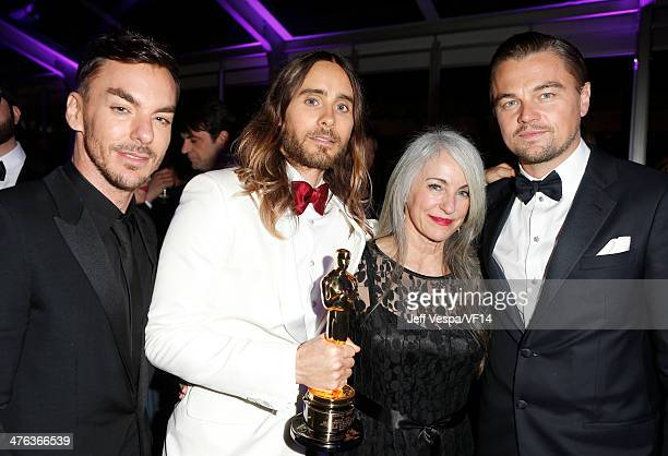Shannon Leto actor Jared Leto Constance Leto and actor Leonardo DiCaprio attend the 2014 Vanity Fair Oscar Party Hosted By Graydon Carter on March 2...