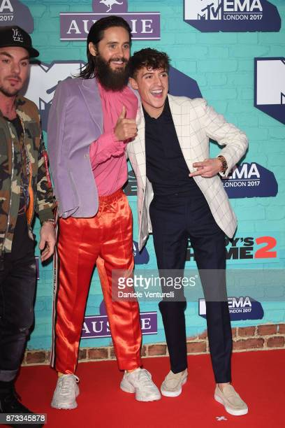 Shannon Leto and Jared Leto of Thirty Seconds to Mars and Lil' Kleine attend the MTV EMAs 2017 held at The SSE Arena Wembley on November 12 2017 in...