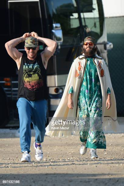 Shannon Leto and Jared Leto of Thirty Seconds to Mars walk backstage during the 2017 Firefly Music Festival on June 18 2017 in Dover Delaware