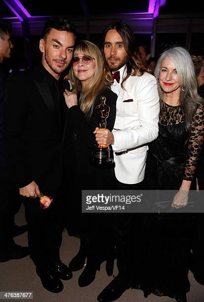 Shannon Leto musician Stevie Nicks actor Jared Leto and Constance Leto attend the 2014 Vanity Fair Oscar Party Hosted By Graydon Carter on March 2...