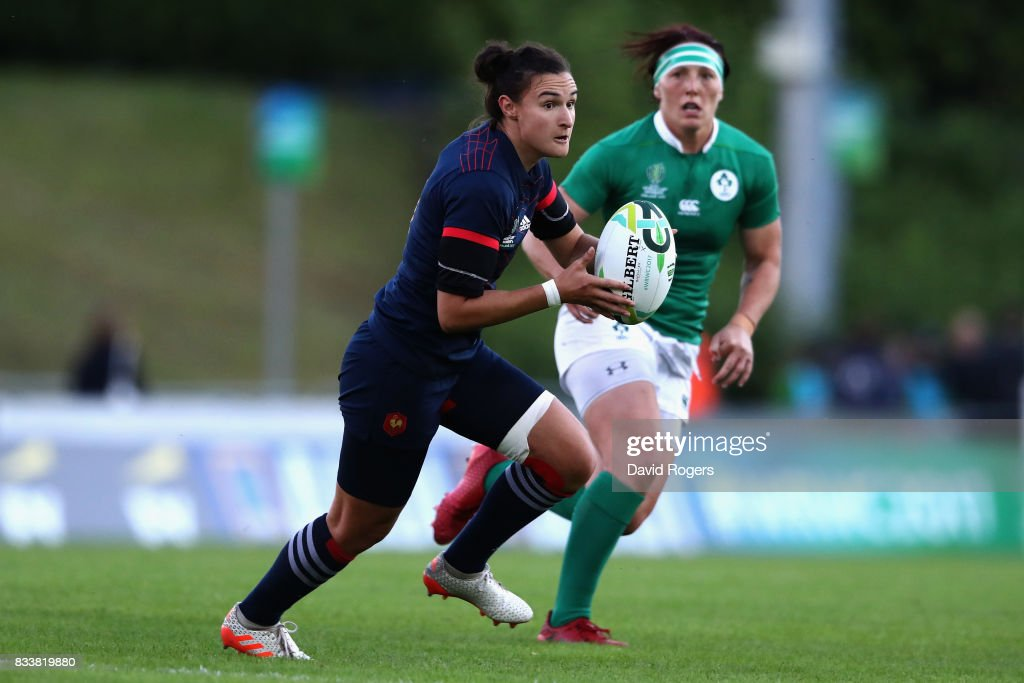 Shannon Lzar of France in action during the Women's Rugby World Cup Pool C match between France and Ireland at UCD Bowl on August 17, 2017 in Dublin, Ireland.