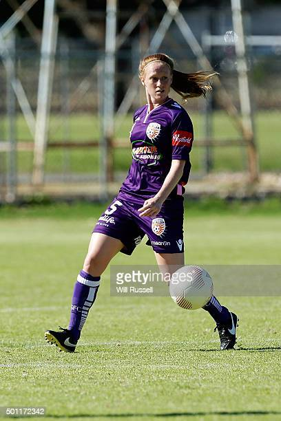Shannon May of the Glory controls the ball during the round nine WLeague match between the Perth Glory and Sydney FC at Ashfield Reserve on December...