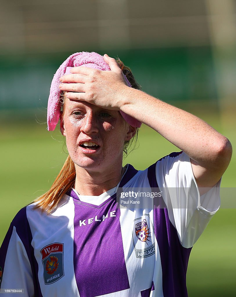 Shannon May of the Glory looks on before the penalty shoot out during the W-League Semi Final match between Perth Glory and Melbourne Victory at nib Stadium on January 20, 2013 in Perth, Australia.