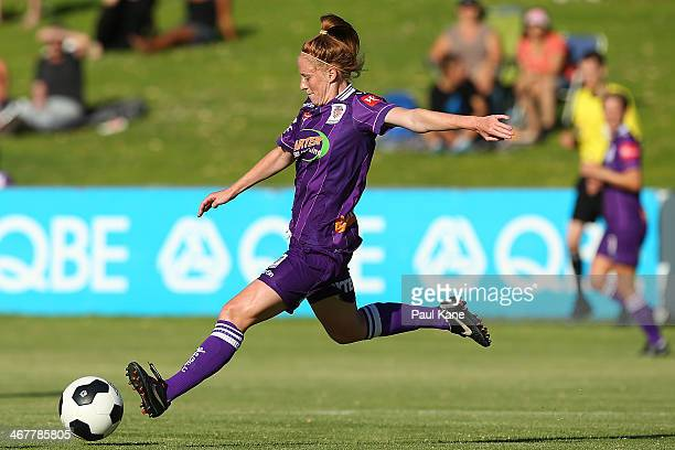 Shannon May of the Glory passes the ball during the round 12 WLeague match between the Perth Glory and Western Sydney Wanderers at Percy Doyle...