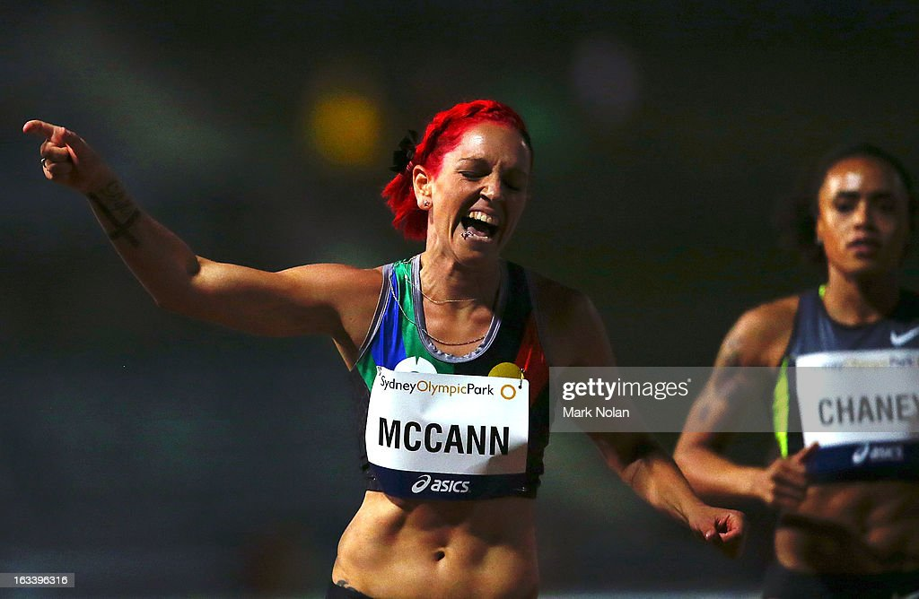 Shannon McCann of Western Australia celebrates winning the Womens 100 metre hurdles during the Sydney Track Classic at Sydney Olympic Park Sports Centre on March 9, 2013 in Sydney, Australia.