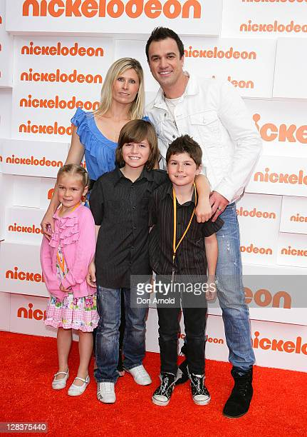 Shannon Noll and family arrive at the 2011 Nickelodeon Kid's Choice Awards at the Sydney Entertainment Centre on October 7 2011 in Sydney Australia