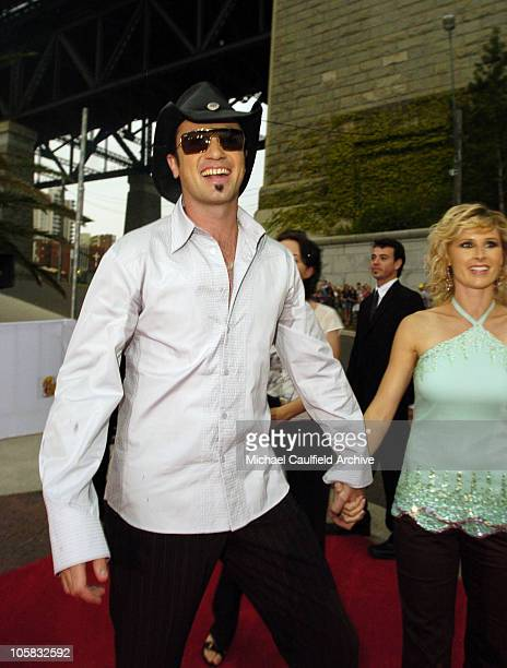 Shannon Noll and guest during 2005 MTV Australia Video Music Awards Red Carpet at Luna Park in Sydney New South Wales Australia