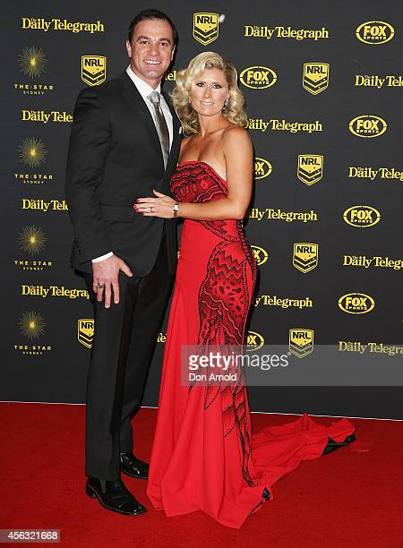 Shannon Noll and Rochelle Ogston arrive at the Dally M Awards at Star City on September 29 2014 in Sydney Australia