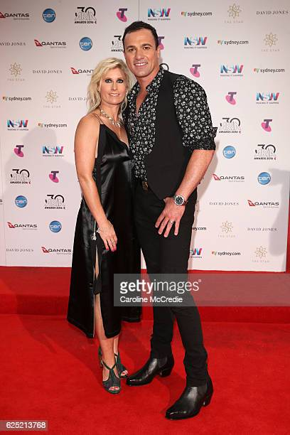 Shannon Noll and Rochelle Ogston arrive for the 30th Annual ARIA Awards 2016 at The Star on November 23 2016 in Sydney Australia