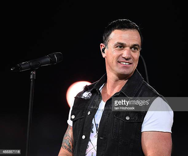 Shannon Noll performs before the start of the NRL 1st Elimination Final match between the North Queensland Cowboys and the Brisbane Broncos at...
