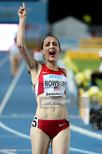 Shannon Rowberry of the United States celebrates after winning the final of the women's distance medley relay on day one of the IAAF World Relays at...