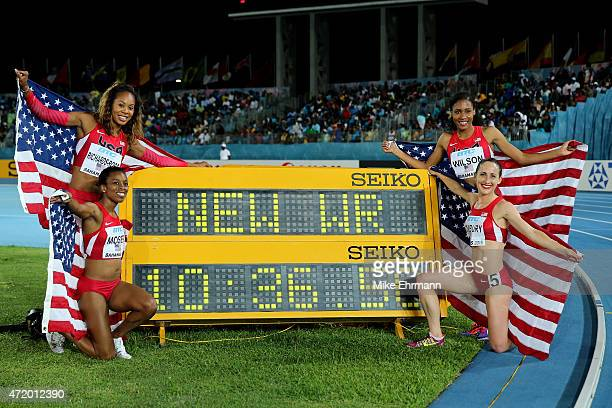 Shannon Rowberry Treniere Moser Sany RichardsRoss and Ajee Wilson of the United States celebrate after setting a new world record during the final of...