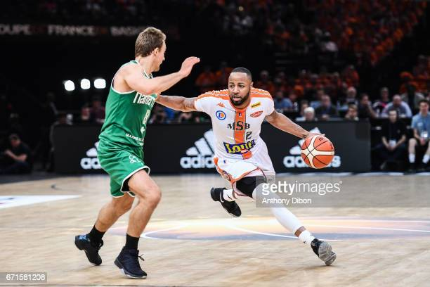 Shannon Shorter of Le Mans during the Final of the French Cup between Le Mans and JSF Nanterre at AccorHotels Arena on April 22 2017 in Paris France