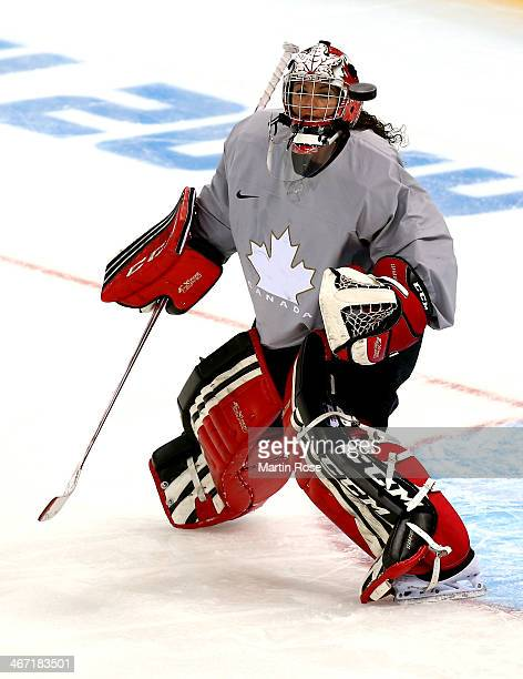 Shannon Szabados of Canada tends goal during their Women's Ice Hockey practice session ahead of the Sochi 2014 Winter Olympics at the Shayba Arena on...
