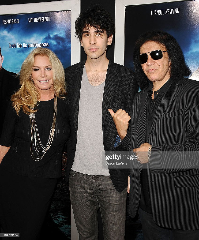 Shannon Tweed, Nick Simmons and Gene Simmons attend the premiere of 'Rogue' at ArcLight Hollywood on March 26, 2013 in Hollywood, California.