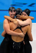 Shannon Vreeland Missy Franklin Allison Schmitt and Dana Vollmer of the United States celebrate after they won the Final of the Women's 4x200m...