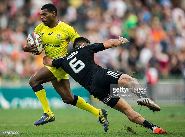 Shannon Walker of Australia in action during the Hong Kong Sevens match between New Zealand and Australia as part of the HSBC Sevens World series at...