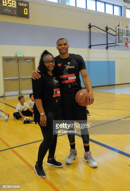 Shannon Westbrook and Russell Westbrook attend the Russell Westbrook 5th Annual Why Not Foundation Basketball Camp at Jesse Owens Community Regional...