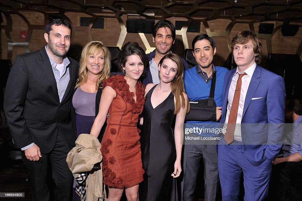 <a gi-track='captionPersonalityLinkClicked' href=/galleries/search?phrase=Shannon+Woodward&family=editorial&specificpeople=3016860 ng-click='$event.stopPropagation()'>Shannon Woodward</a>, <a gi-track='captionPersonalityLinkClicked' href=/galleries/search?phrase=Emma+Roberts&family=editorial&specificpeople=226535 ng-click='$event.stopPropagation()'>Emma Roberts</a>, Justin Nappi and <a gi-track='captionPersonalityLinkClicked' href=/galleries/search?phrase=Evan+Peters&family=editorial&specificpeople=2301160 ng-click='$event.stopPropagation()'>Evan Peters</a> pose with guests at the 'Adult World' premiere after party during the 2013 Tribeca Film Festival at Darby Downstairs on April 18, 2013 in New York City.