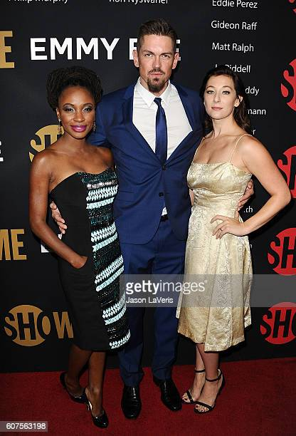 Shanola Hampton Steve Howey and Isidora Goreshter attend the Showtime Emmy eve party at Sunset Tower on September 17 2016 in West Hollywood California
