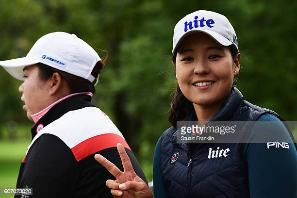 Shanshan Feng of China and In Gee Chun of Korea look on during the third round of The Evian Championship on September 17 2016 in EvianlesBains France