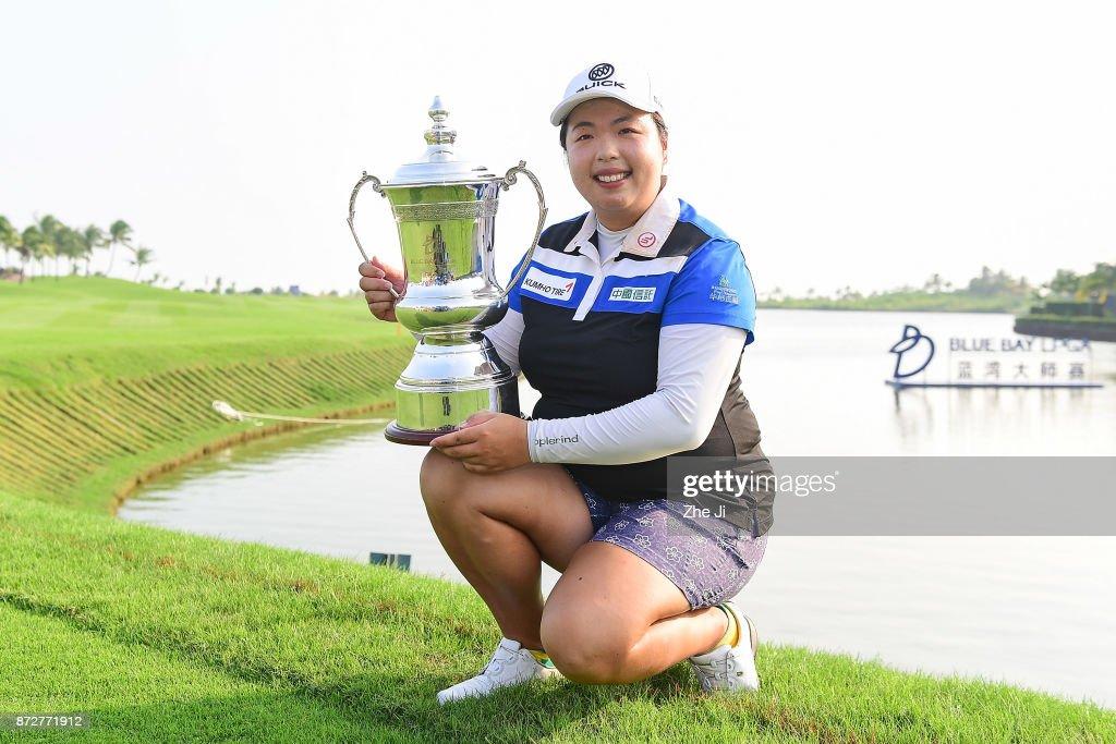 Shanshan Feng of China celebrates after winning the Blue Bay LPGA at Jian Lake Blue Bay golf course on November 10, 2017 in Hainan Island, China.